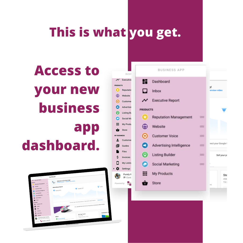 An image of what the business app looks like.